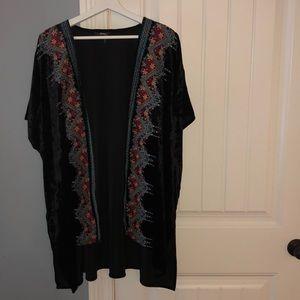 black, velvet cardigan with beautiful colors